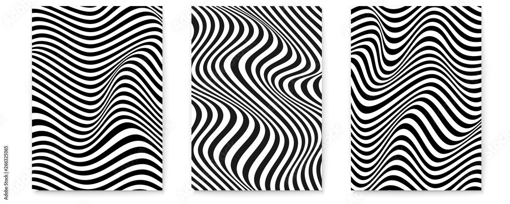 Fototapety, obrazy: Set of layouts with wavy lines. Twisted duotone backgrounds. Abstract pattern from lines, halftone effect. Black and white texture. Minimalistic design template for poster, banner, cover, postcard