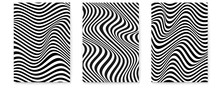 Set Of Layouts With Wavy Lines. Twisted Duotone Backgrounds. Abstract Pattern From Lines, Halftone Effect. Black And White Texture. Minimalistic Design Template For Poster, Banner, Cover, Postcard