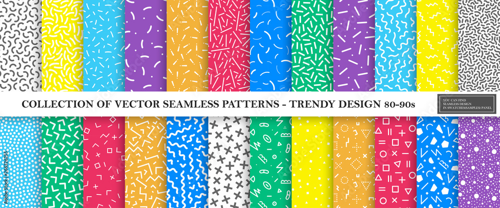 Fototapeta Colorful vibrant vector collection of memphis seamless patterns. Fashion design 80-90s. Bright stylish textures.