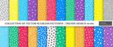 Kolekcja kolorowych wektorów wibrujących memphis bez szwu wzorów. Projektowanie mody w latach 80-90. Jasne, stylowe tekstury.