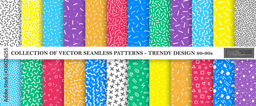 fototapeta na lodówkę Colorful vibrant vector collection of memphis seamless patterns. Fashion design 80-90s. Bright stylish textures.