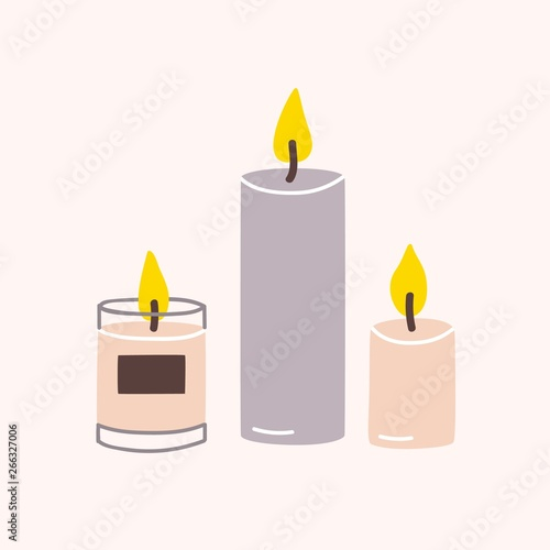 Burning wax or paraffin aromatic candles for aroma therapy isolated on light background Wallpaper Mural
