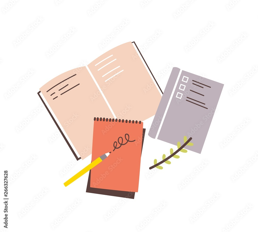 Fototapeta Notebooks, notepads, memo pads, planners, organizers for making writing notes and jotting isolated on white background. Decorative design elements. Colorful vector illustration in flat style.