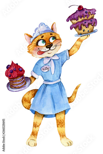 Deurstickers Magische wereld Waitress cat with two cakes