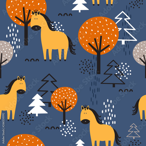 Horses, fir trees and trees, hand drawn backdrop. Colorful seamless pattern with animals. Decorative cute wallpaper, good for printing. Overlapping background vector. Design illustration
