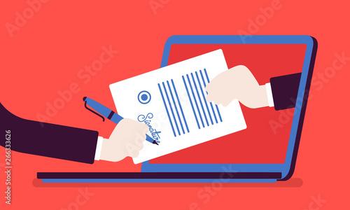 Electronic signature on laptop Canvas Print