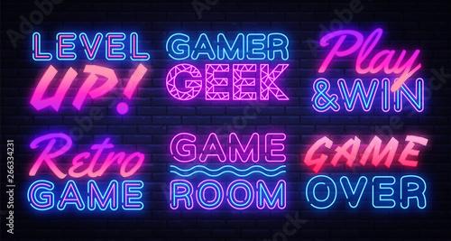 Gaming Neon signs set Vector Fototapet