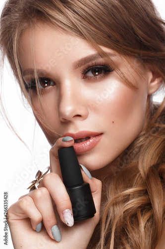 Pretty Girl With Easy Hairstyle Classic Makeup Nude Lips And Manicure Design With Jar Of Nail Polish In Her Hands Beauty Face Art Nails Buy This Stock Photo And Explore Similar