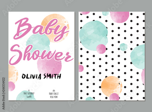 Deurstickers Retro sign baby shower card