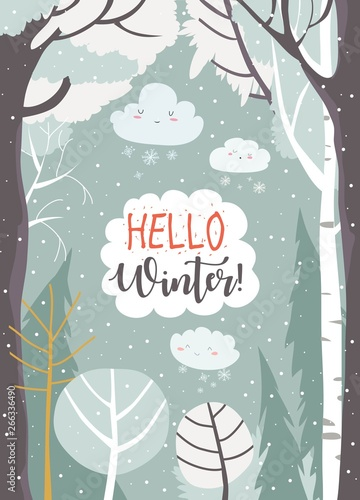 Cartoon frame with winter forest. Hello winter