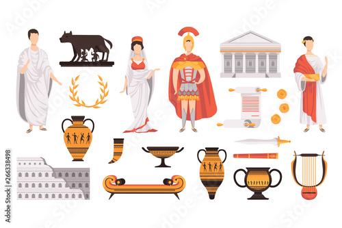 Fototapeta Traditional cultural symbols of ancient Rome set vector Illustrations on a white background obraz