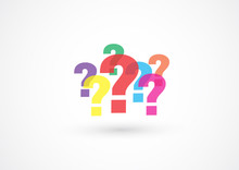 Question Mark Sign Colorful Pattern On White Background, Vector Illustration