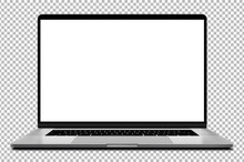 Laptop Modern Frameless With Blank Screen Isolated On Transparent Background - Super High Detailed Photorealistic Esp 10 Vector