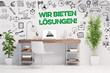 Leinwandbild Motiv Service Konzept mit Slogan Wir bieten Lösungen