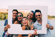 canvas print picture - Group of young happy friends having fun time