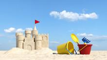 Urlaub Am Strand Mit Sandburg Und Spielzeug