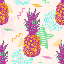 Tropical Seamless Pattern With Pineapples