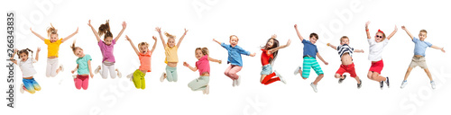 In de dag Dance School The kids dance school, ballet, hiphop, street, funky and modern dancers on white studio background. Girl is showing aerobic and dance element. Teen in hip hop style. Collage