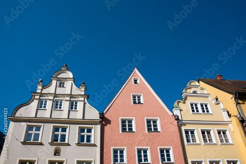 Aluminium Prints Europa colorful gable houses against blue sky, in Donauworth, Germany