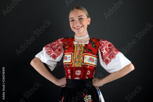 Slovak folklore. Slovakian folklore girl. Fototapet