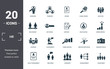 Leinwanddruck Bild - Human Resources icons set collection. Includes simple elements such as Searching, Teamwork, Resume, Global Search, Selection, Achievements and Human Analysis premium icons