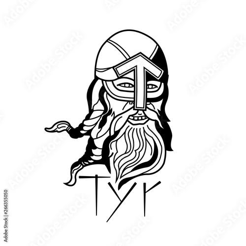 Tyr berserk Head Viking God Logo Emblem Canvas Print
