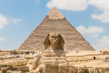 The pyramid of Chephren and the Great Sphinx of Giza, Egypt