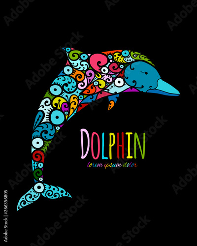Fotomurales - Dolphin ornate logo, sketch for your design