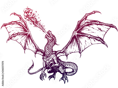 Photo  Dragon fire breathing spreading wings, illustration
