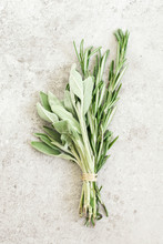 Bunch Of Sage And Rosemary On ...