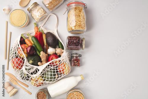Fotografia, Obraz  Zero waste concept. Eco-friendly shopping, flat lay