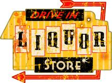 Vintage American Super Grunge Liquor Store Sign, Vector Illustration