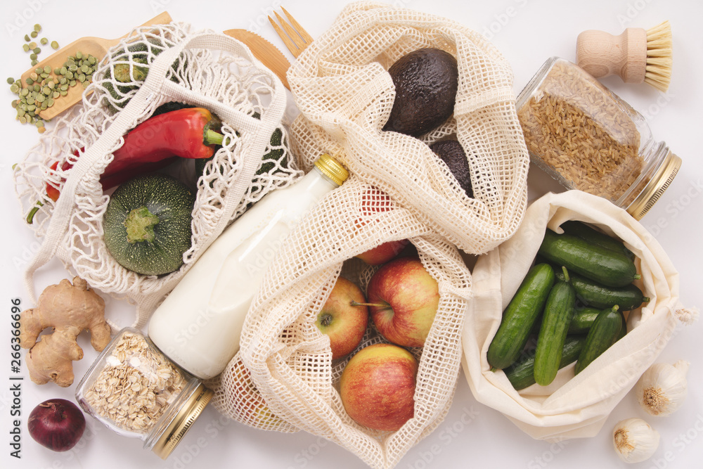 Fototapety, obrazy: Zero waste concept. Eco-friendly shopping, flat lay