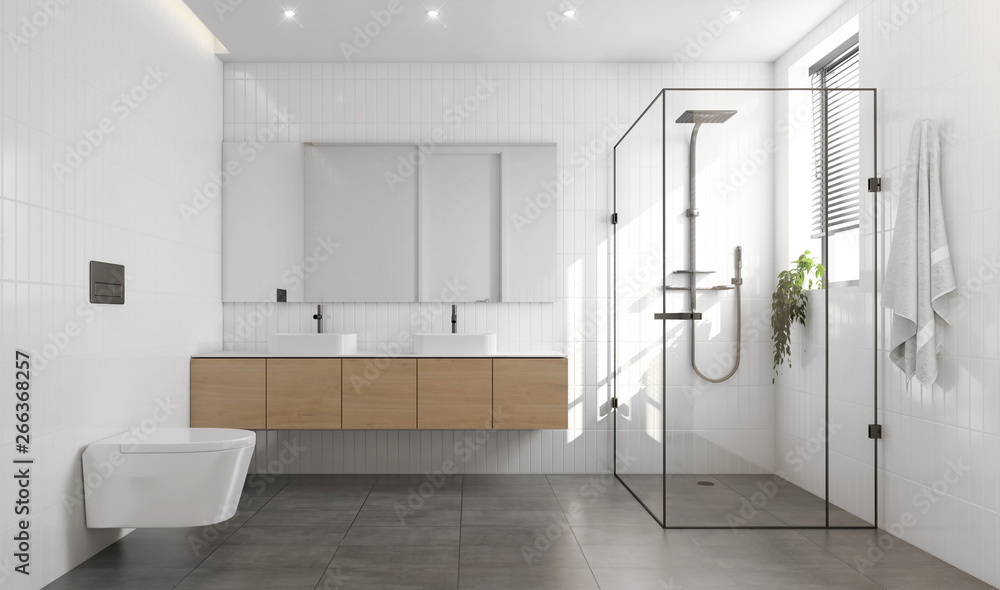 Fototapety, obrazy: 3d rendering of a white and grey contemporary modern bathroom
