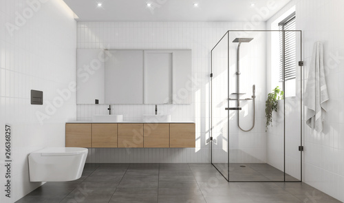 Fotografie, Obraz  3d rendering of a white and grey contemporary modern bathroom