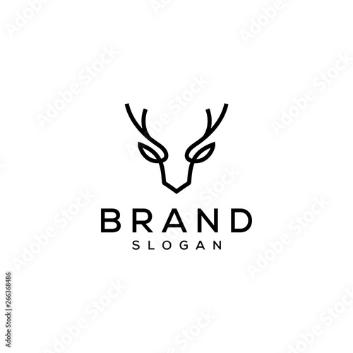 deer head antler logo design