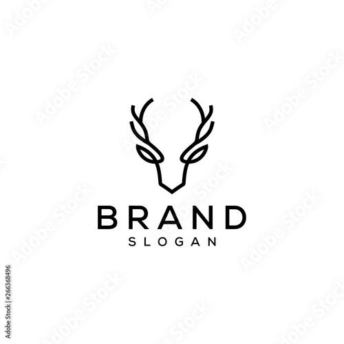 deer head antler logo design
