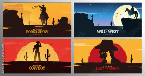 Fototapeta Set of Cowboy banners. Rodeo. Wild West banner. Texas. Vector illustration. obraz