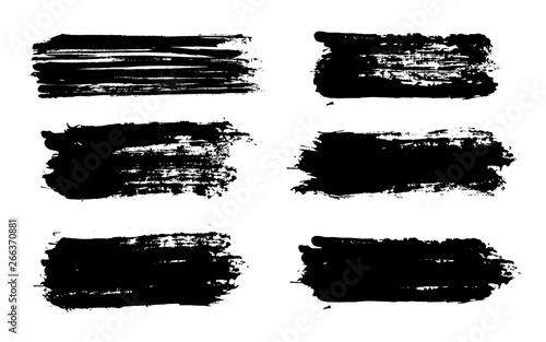 Poster Cartoon draw Brush strokes. Vector paintbrush set. Grunge design elements.