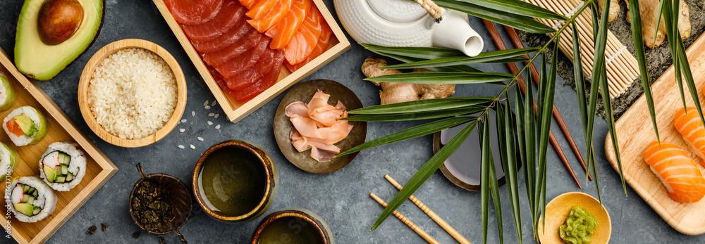 Fototapety, obrazy: Overhead shot of ingredients for sushi on dark blue background