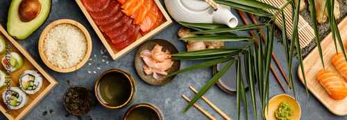 Recess Fitting Sushi bar Overhead shot of ingredients for sushi on dark blue background