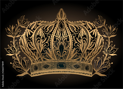 Crown king and queen elegant drawing art. Gold color in black background. -  Buy this stock vector and explore similar vectors at Adobe Stock | Adobe  Stock