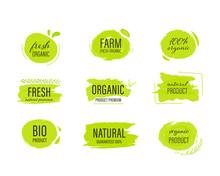 Set Of Organic Label And Natural Label Hand Drawn Brush. Tag And Sticker Farm Fresh Logo Vegan Food Mark.
