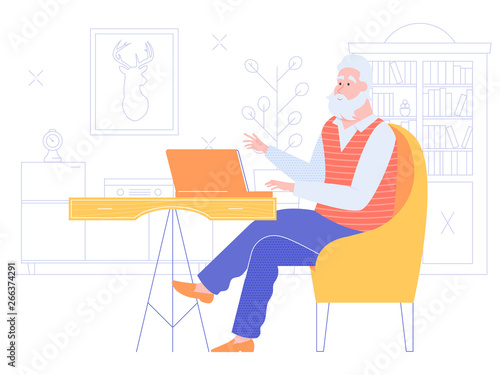 Gray-haired senior man at home working with a laptop. Internet surfing, online education, remote work. Active life in old age. Bright vector character on the background of the room.