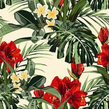 Seamless Pattern With Tropical Leaves And Paradise Red Lilies Flowers. Bright Green Palm Monstera Leaves On The Yellow Background. Tropical Illustration. Jungle Foliage.