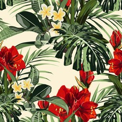 Fototapeta Liście Seamless pattern with tropical leaves and paradise red lilies flowers. Bright green palm monstera leaves on the yellow background. Tropical illustration. Jungle foliage.
