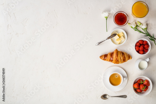 Continental breakfast captured from above, flat lay, top view Canvas Print