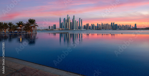 Spoed Foto op Canvas Dubai Panorama of Dubai Marina Skyline at sunset United Arab Emirates