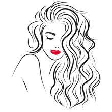 Beautiful Girl With Long Curly Hair And Red Lips. Vector Illustration