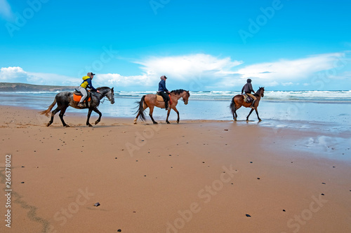 Horse riding at Carapateira beach in the Algarve Portugal Wallpaper Mural